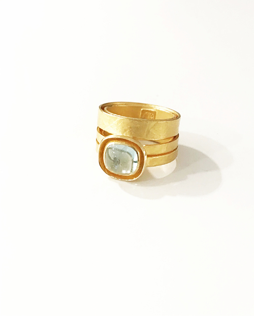 Sandel, bague or, aigue marine